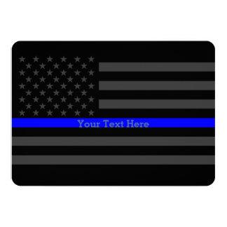 """Invite a la bandera negra personalizada Blue Line Invitación 5"""" X 7"""""""