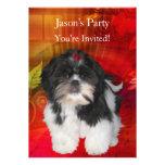 Invite a la fiesta de cumpleaños Shih Tzu en rojo  Anuncio