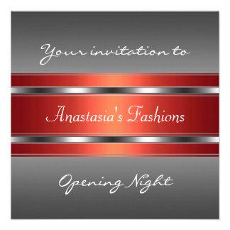 Invite a la plata roja gris de la noche de la inau invitaciones personalizada