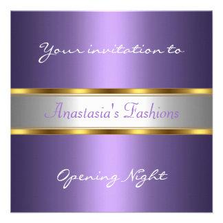Invite a la púrpura de la noche de la inauguración comunicados personales