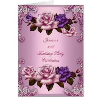 Invite a la trigésima púrpura del rosa de la fiest tarjeta pequeña