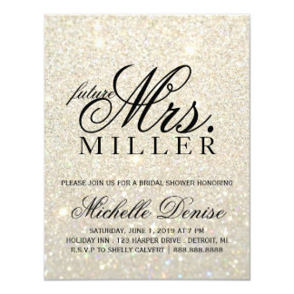 "Invite - a señora futura fabulosa Bridal de Glit Invitación 4.25"" X 5.5"""