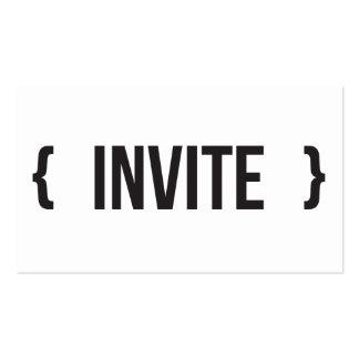 Invite - acorchetado - a blanco y negro tarjetas de visita