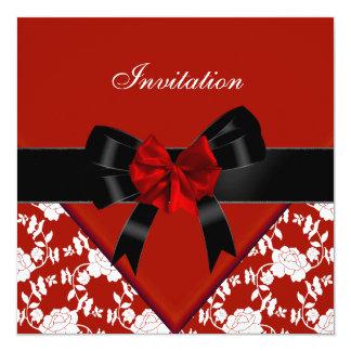 """Invite al arco floral blanco negro rojo con clase invitación 5.25"""" x 5.25"""""""