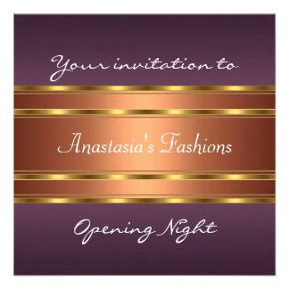 Invite al cobre púrpura del oro de la noche de la  invitaciones personales