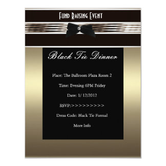 Invite al estaño formal del bronce del lazo negro invitación 10,8 x 13,9 cm