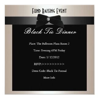 Invite al lazo negro formal Champán de la Invitación 13,3 Cm X 13,3cm
