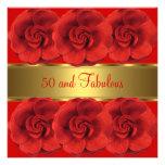 Invite al oro 50 de las flores del rojo y fabuloso anuncio