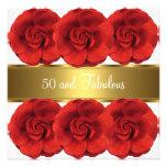 Invite al oro blanco 50 de las flores del rojo y f invitacion personal