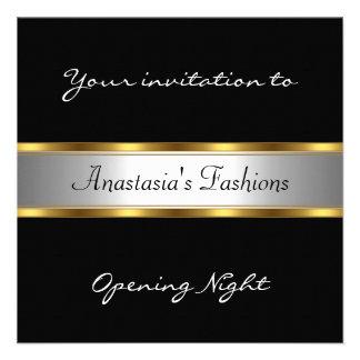 Invite al oro blanco negro de la noche de la inaug invitacion personal