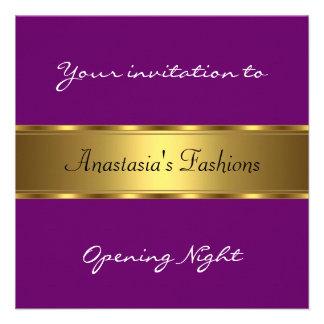 Invite al oro de la púrpura de la noche de la inau comunicados