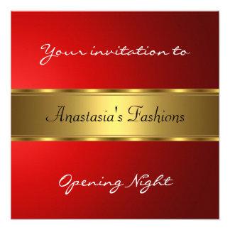 Invite al oro del rojo de la noche de la inaugurac comunicado
