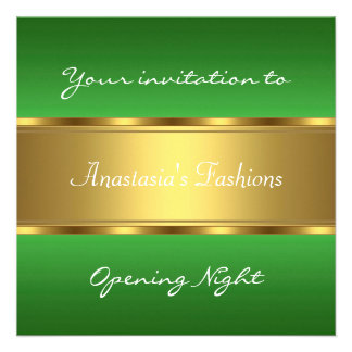 Invite al oro verde de la noche de la inauguración anuncio