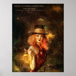 Invite al té de la liebre de marzo - el sombrerero póster