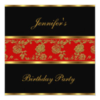 Invite Birthday Party Floral Gold Black Red Asian