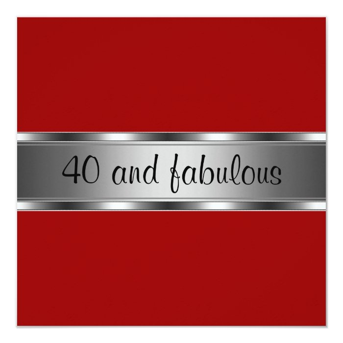 Invite Birthday Party Red Silver Fabulous 40th | Zazzle - photo#19