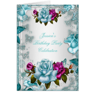 Invite Birthday Party Teal Blue White Pink Rose