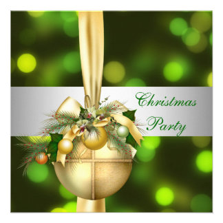 Invite Christmas Party Gold Yellow Green Balls Personalized Invites