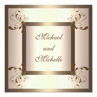Invite Engagement Glamour Cream Gold Floral