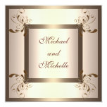 Invite Engagement Glamour Cream Gold Floral Personalized Invites