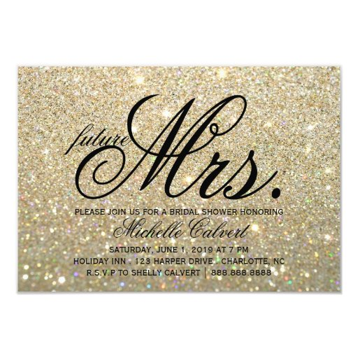 Invite -Gold Glitter Fab future Mrs. Bridal Shower