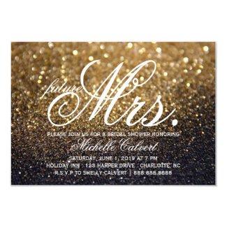 "Invite - Gold Lit Nite Bridal Shower future Mrs. 3.5"" X 5"" Invitation Card"