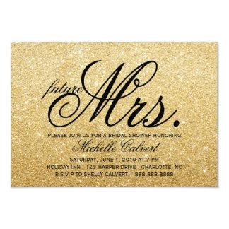 Invite - Golden Glitter Bridal Shower future Mrs.