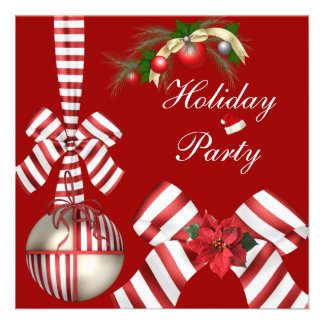 Invite Holiday Party Red White Candy Stripe Bow 4 Invites