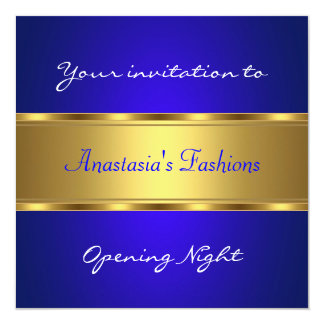 Invite Opening Night Cobalt Blue Gold Custom Invitation