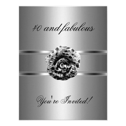 Invite Party Black Grey Flower Fabulous 40th Custom Invitation