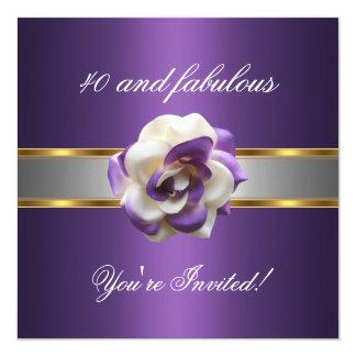 Invite Party Purple White Flower Fabulous 40th