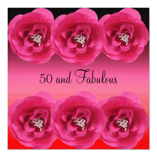 Invite Pink Flowers 50 and Fabulous