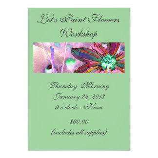 """Invite - pintemos el taller de las flores invitación 5"""" x 7"""""""