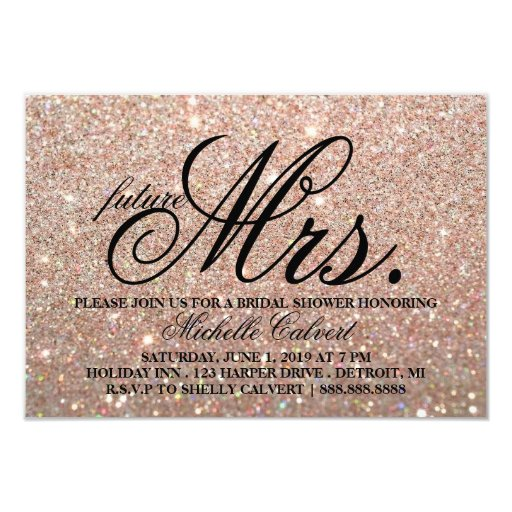 Invite-Rose Gold Glitter BridalShower future Mrs. Invitation