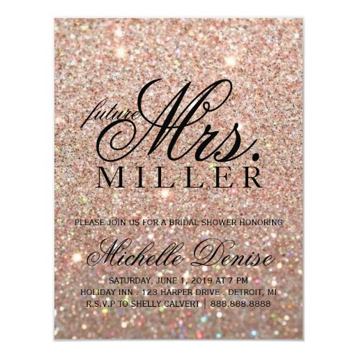 Invite -Rose Gold Glitter Fab future Mrs. Bridal