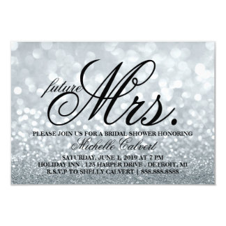 Invite - Silver Lit Glit Bridal Shower future Mrs.