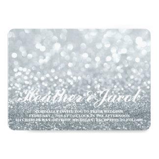 "Invite - Silver Lit Glitter Fab Wedding 5"" X 7"" Invitation Card"