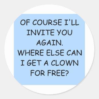 invite the clown classic round sticker