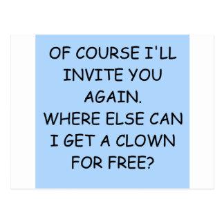 invite the clown postcard