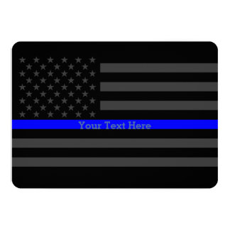 Invite Thin Blue Line Personalized Black US Flag