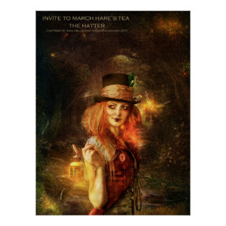 Invite to March Hare's Tea -the Hatter Poster