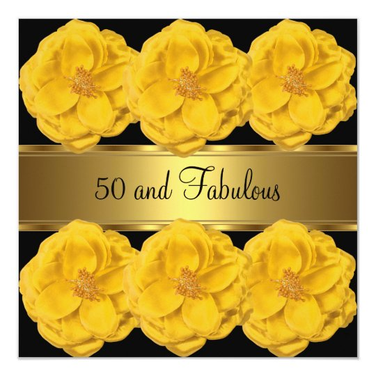 Invite Yellow Flowers Black Gold Fabulous 50th