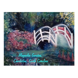 Inviting White Bridge into Luscious Gardens Post Card