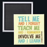 """Involve Me Inspirational Quote Magnet<br><div class=""""desc"""">Benjamin Franklin quote reads &quot;Tell me and I forget. Teach me and I remember. Involve me and I learn.&quot;! This awesome inspirational message is available in multicolor text on T-shirts,  hoodies,  tote bags,  magnets,  mugs,  key chains,  buttons,  water bottles,  and many other items great for anyone who values education!</div>"""