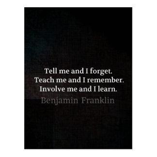 Involve Me Teach me Inspirational Quote Postcard