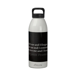 Involve Me Teach me Inspirational Quote Water Bottle