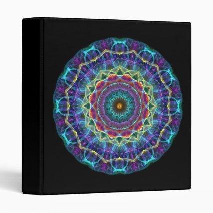 Inward Flower kaleidoscope 3 Ring Binder