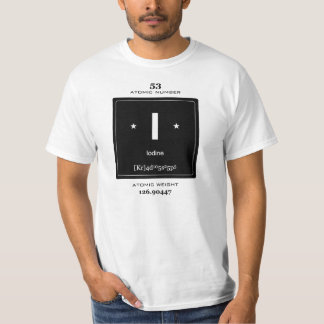 Iodine Chemical Element t-shirt with vintage badge