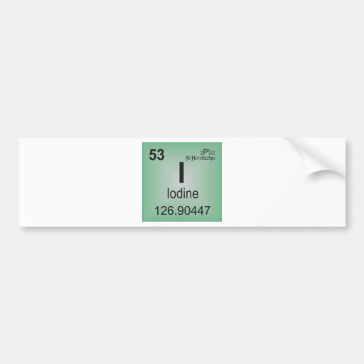 Iodine Individual Element of the Periodic Table Car Bumper Sticker