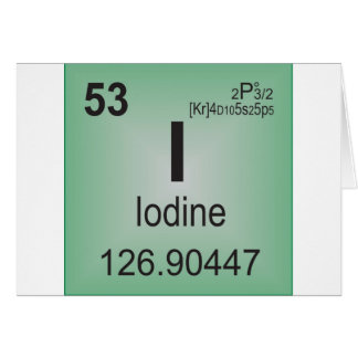 Iodine Individual Element of the Periodic Table Greeting Card